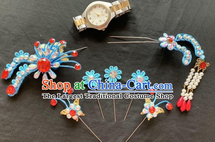 Chinese Beijing Opera Diva Blue Flowers Hairpins Headgear Traditional Peking Opera Queen Hair Accessories for Women