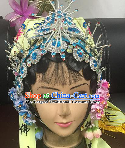 Chinese Beijing Opera Taoist Nun Yellow Hat Headgear Traditional Peking Opera Wig Sheath and Hair Accessories for Women