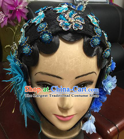 Chinese Beijing Opera Young Mistress Headgear Traditional Peking Opera Wig Sheath and Hair Accessories for Women
