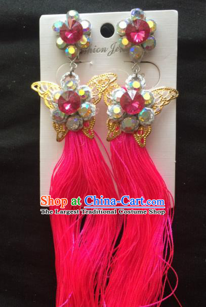 Chinese Beijing Opera Diva Red Tassel Butterfly Earrings Traditional Peking Opera Princess Ear Accessories for Women
