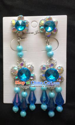 Chinese Beijing Opera Diva Blue Beads Tassel Earrings Traditional Peking Opera Princess Ear Accessories for Women