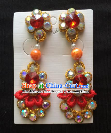 Chinese Beijing Opera Diva Earrings Traditional Peking Opera Princess Red Crystal Ear Accessories for Women