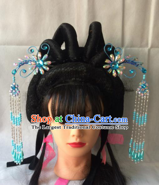 Chinese Beijing Opera Diva Blue Phoenix Hairpins Traditional Peking Opera Princess Hair Accessories for Women
