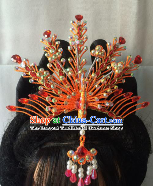 Chinese Beijing Opera Diva Red Phoenix Coronet Hairpins Traditional Peking Opera Queen Hair Accessories for Women