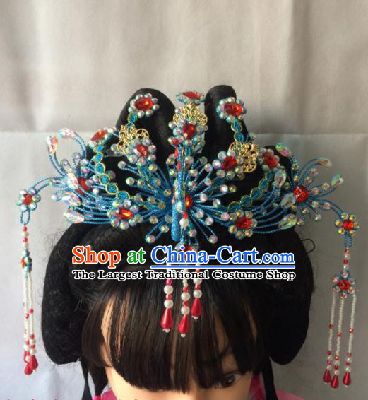 Chinese Beijing Opera Diva Blue Phoenix Coronet Hairpins Traditional Peking Opera Queen Hair Accessories for Women