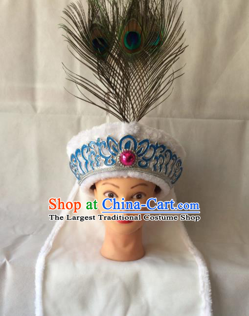 Chinese Beijing Opera Diva White Hat Traditional Peking Opera Blues Hair Accessories for Women