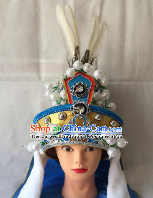Chinese Beijing Opera Takefu Blue Hat Traditional Peking Opera Swordsman Helmet Headwear for Men