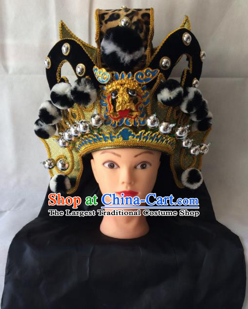Chinese Beijing Opera Royal Highness Black Hat Traditional Peking Opera Swordsman Helmet Headwear for Men