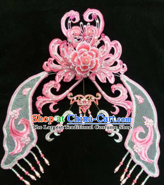 Chinese Beijing Opera Diva Pink Hair Crown Traditional Peking Opera Queen Hairpins Hair Accessories for Women
