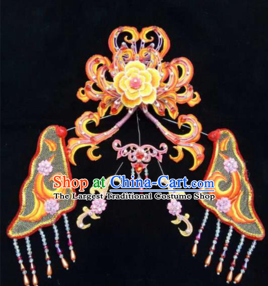 Chinese Beijing Opera Diva Orange Hair Crown Traditional Peking Opera Queen Hairpins Hair Accessories for Women