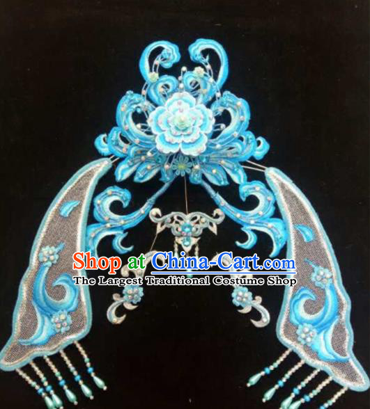 Chinese Beijing Opera Diva Blue Hair Crown Traditional Peking Opera Queen Hairpins Hair Accessories for Women