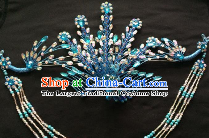 Chinese Beijing Opera Diva Blue Phoenix Hair Crown Traditional Peking Opera Queen Hairpins Hair Accessories for Women