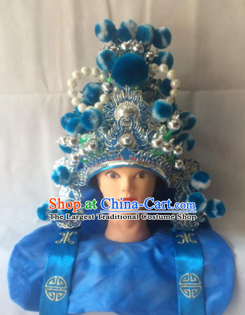 Chinese Beijing Opera Imperial Bodyguard Blue Hat Traditional Peking Opera Takefu Headwear for Men