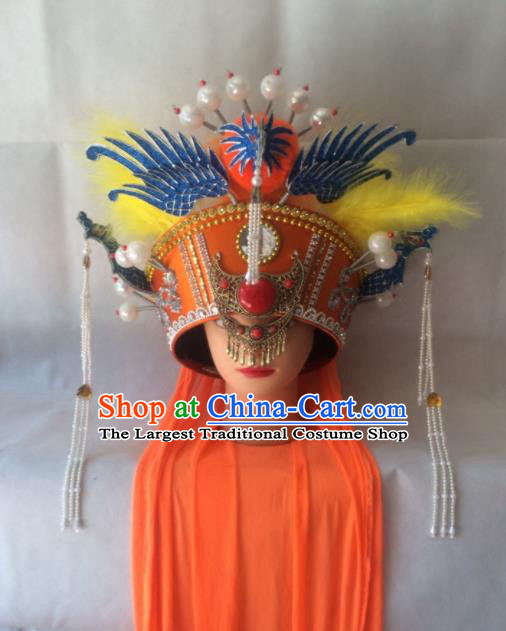 Chinese Beijing Opera Empress Orange Hat Traditional Peking Opera Queen Hair Accessories for Women