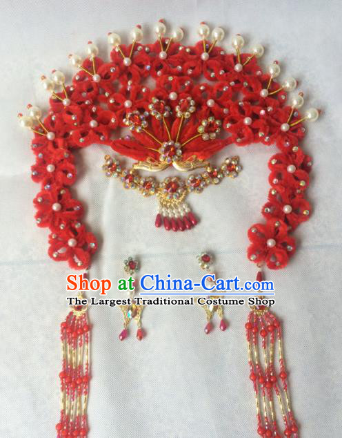Chinese Beijing Opera Diva Red Hairpins Traditional Peking Opera Queen Hair Accessories for Women