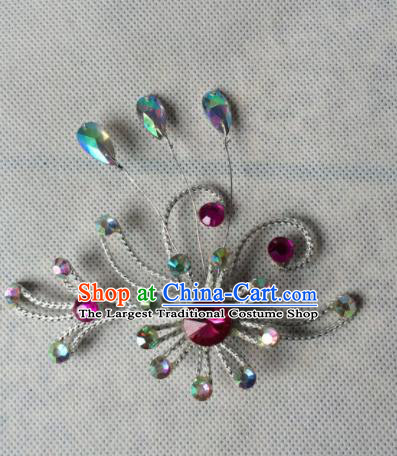 Chinese Beijing Opera Diva Rosy Crystal Hair Claw Hairpins Traditional Peking Opera Hair Accessories for Women