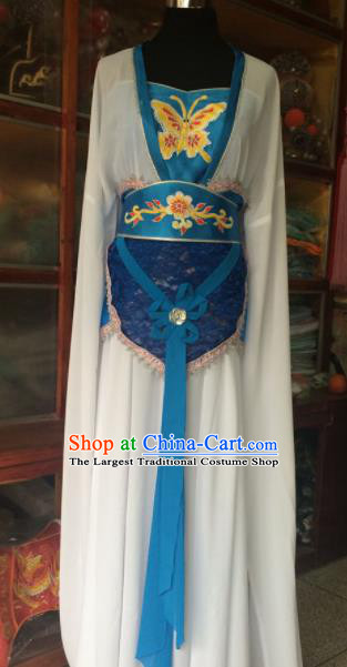 Chinese Beijing Opera Maidservant White Dress Traditional Peking Opera Young Lady Costume for Women