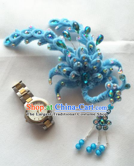 Chinese Beijing Opera Princess Blue Velvet Phoenix Hairpins Traditional Peking Opera Diva Hair Accessories for Women