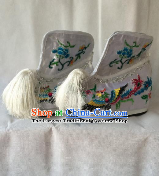 Chinese Beijing Opera Princess White Boots Traditional Peking Opera Diva Embroidered Shoes for Women
