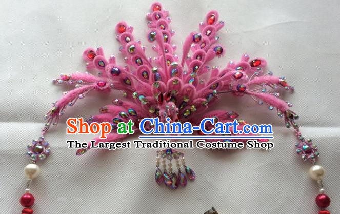 Chinese Beijing Opera Queen Pink Velvet Phoenix Hair Crown Hairpins Traditional Peking Opera Diva Hair Accessories for Women