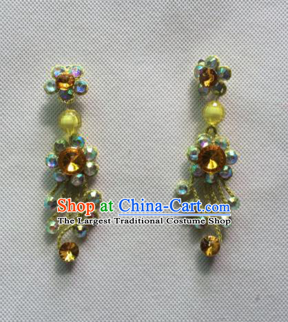 Chinese Beijing Opera Princess Yellow Earrings Traditional Peking Opera Diva Jewelry Accessories for Women