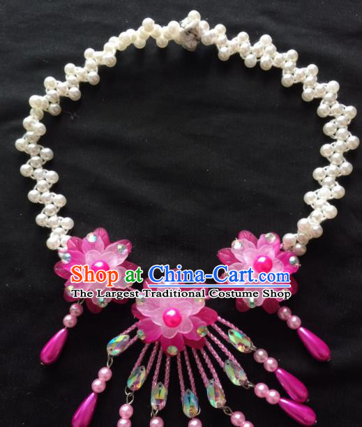 Chinese Beijing Opera Diva Rosy Flowers Necklace Traditional Peking Opera Princess Necklet Accessories for Women