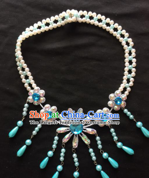 Chinese Beijing Opera Diva Blue Tassel Necklace Traditional Peking Opera Princess Necklet Accessories for Women