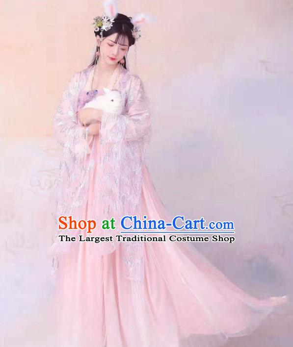 Ancient Chinese Goddess Pink Hanfu Dress Tang Dynasty Court Princess Historical Costumes for Women