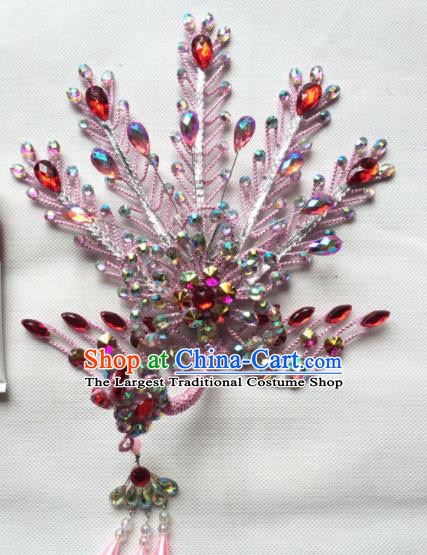 Chinese Beijing Opera Diva Pink Phoenix Hairpins Traditional Peking Opera Hair Accessories for Women