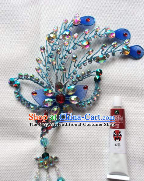 Chinese Beijing Opera Diva Blue Phoenix Hairpins Traditional Peking Opera Hair Accessories for Women