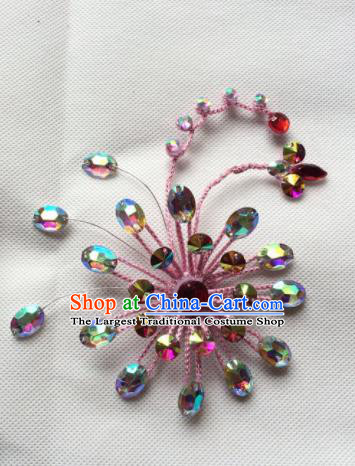 Chinese Beijing Opera Diva Pink Hair Claw Hairpins Traditional Peking Opera Hair Accessories for Women