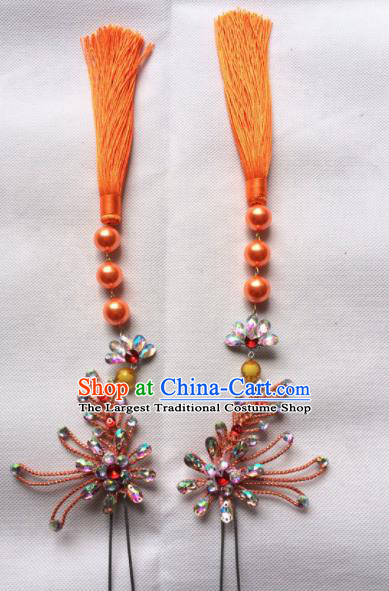 Chinese Beijing Opera Diva Orange Tassel Hairpins Traditional Peking Opera Hair Accessories for Women