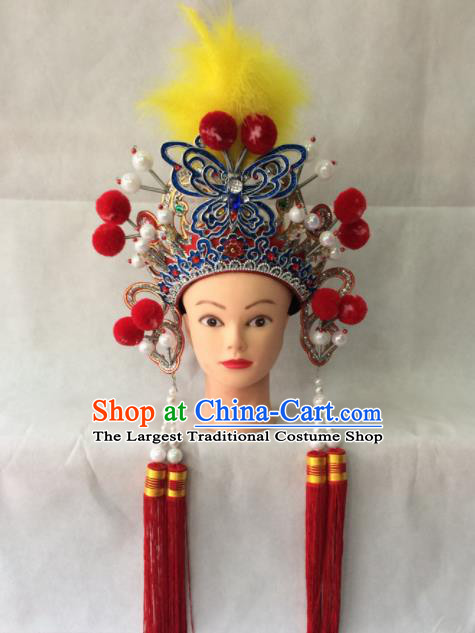 Chinese Beijing Opera Blues Hat Traditional Peking Opera Diva Female Swordsman Hair Accessories for Women