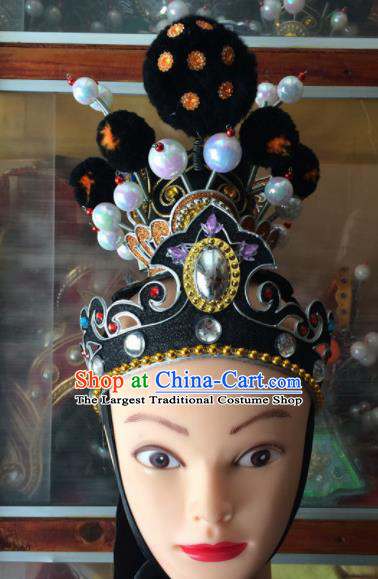 Chinese Beijing Opera Niche Black Hair Crown Traditional Peking Opera Prince Headwear for Men