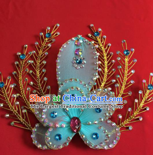 Chinese Beijing Opera Actress Blue Flower Hairpins Traditional Peking Opera Princess Hair Accessories for Women