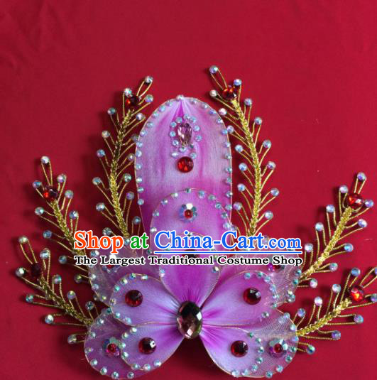 Chinese Beijing Opera Actress Purple Flower Hairpins Traditional Peking Opera Princess Hair Accessories for Women