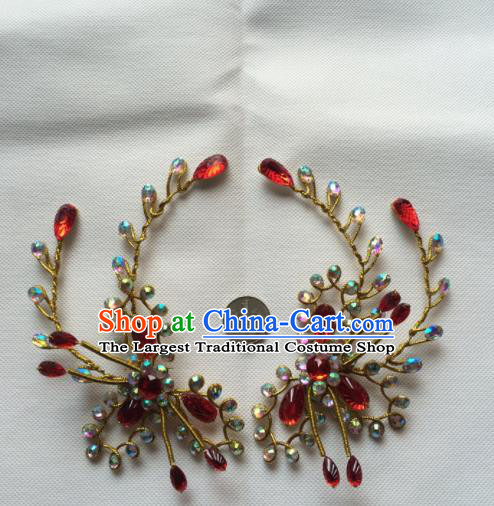 Chinese Beijing Opera Actress Red Crystal Hair Claw Traditional Peking Opera Princess Hair Accessories for Women