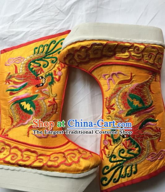 Chinese Beijing Opera Embroidery Dragon Golden Boots Traditional Peking Opera Takefu Embroidered Shoes for Men