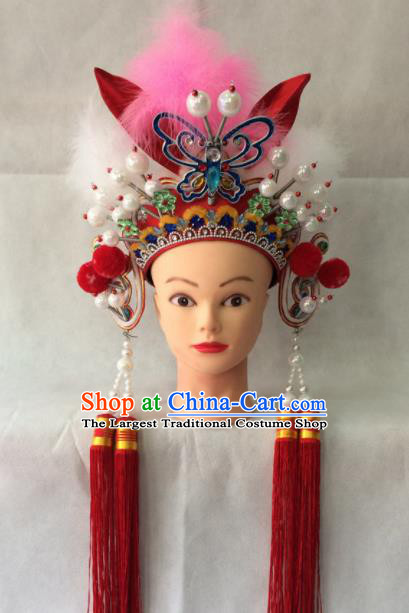 Chinese Beijing Opera Blues Hair Clasp Traditional Peking Opera Female Swordsman Hair Accessories for Women