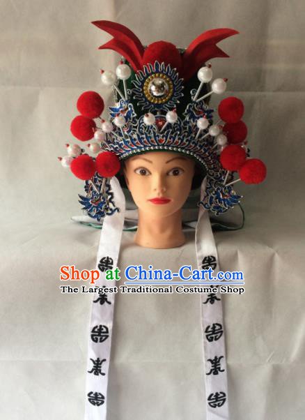 Chinese Beijing Opera General Green Hat Traditional Peking Opera Takefu Headwear for Men