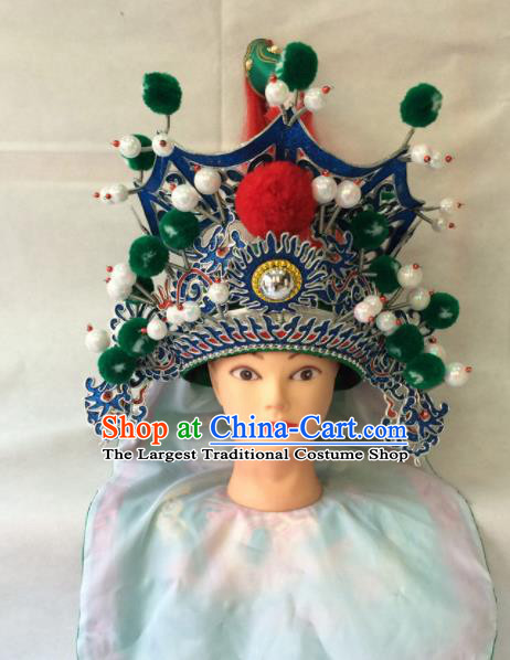 Chinese Beijing Opera General Green Helmet Traditional Peking Opera Takefu Hat Headwear for Men