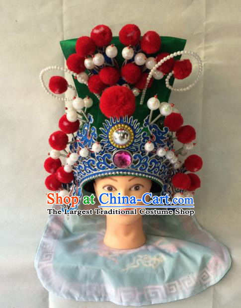 Chinese Beijing Opera General Green Helmet Hat Traditional Peking Opera Takefu Headwear for Men