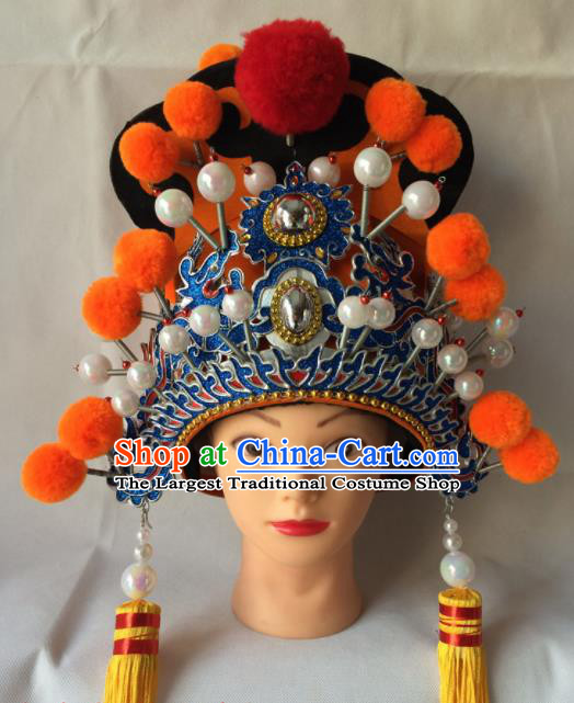 Chinese Beijing Opera Minister Orange Helmet Traditional Peking Opera Eunuch Hat Headwear for Men