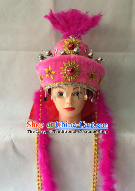 Chinese Beijing Opera Princess Pink Hat Traditional Peking Opera Diva Hair Accessories for Women