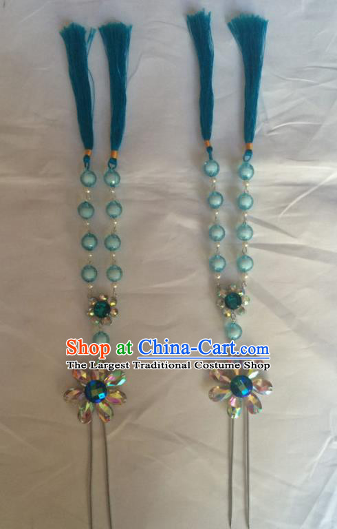 Chinese Beijing Opera Diva Blue Beads Tassel Hairpins Traditional Peking Opera Hair Accessories for Women