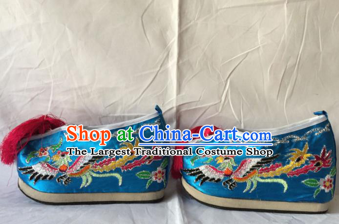 Chinese Beijing Opera Princess Blue Shoes Traditional Peking Opera Diva Embroidered Shoes for Women