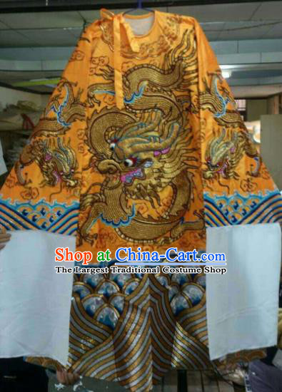 Chinese Beijing Opera Emperor Golden Embroidered Robe Traditional Peking Opera General Costume for Men