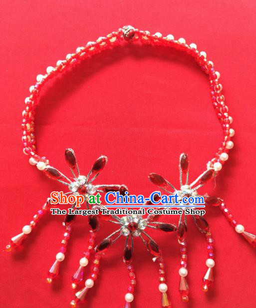 Chinese Beijing Opera Princess Red Crystal Tassel Necklace Traditional Peking Opera Diva Accessories for Women