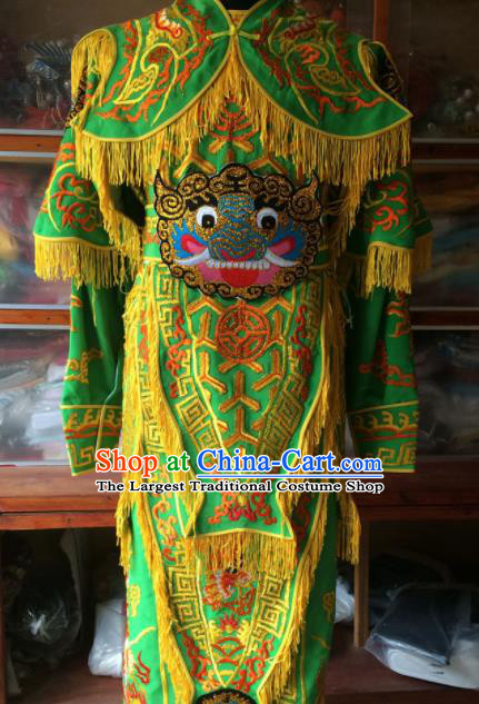 Chinese Beijing Opera General Green Embroidered Clothing Traditional Peking Opera Takefu Costume for Men