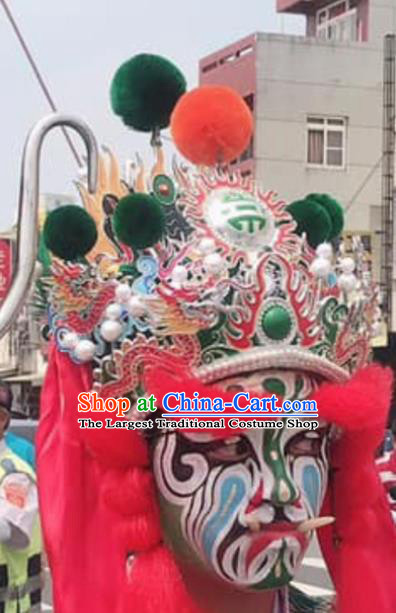 Chinese Sichuan Opera Change Face Green Hat Traditional Peking Opera Hair Accessories for Men